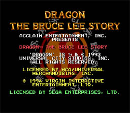 Dragon - The Bruce Lee Story Genesis Screenshot Screenshot 1
