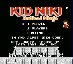 Kid Niki Radical Ninja NES Screenshot Screenshot 1