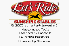 Let's Ride: Sunshine Stables GBA Screenshot Screenshot 1