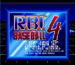 RBI Baseball 4 Genesis Screenshot Screenshot 1