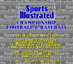 Sports Illustrated Championship Football & Baseball SNES Screenshot Screenshot 1