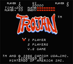 Trojan NES Screenshot Screenshot 1