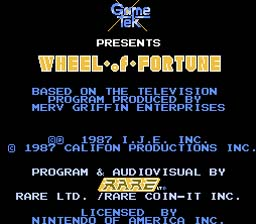 Wheel of Fortune NES Screenshot Screenshot 1