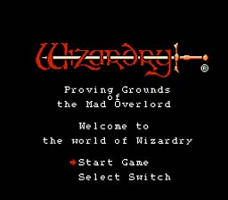 Wizardry NES Screenshot Screenshot 1